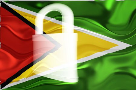guarded: Flag of Guyana, national country symbol illustration wavy security lock protection Stock Photo