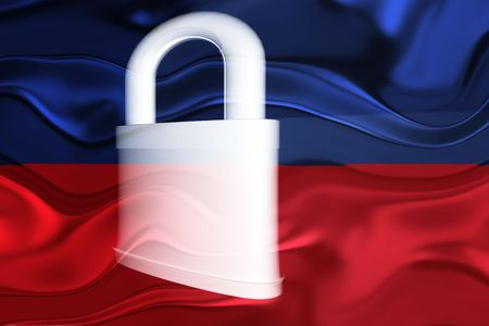 defended: Flag of Haiti, national country symbol illustration wavy security lock protection