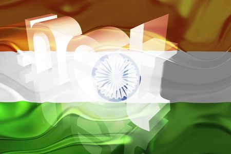 Flag of India, national country symbol illustration wavy net domain website Stock Illustration - 6646450