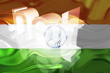 Flag of India, national country symbol illustration wavy net domain website Stock Illustration - 6646450