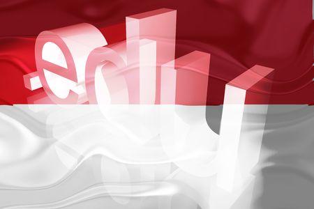 edu: Flag of Indonesia, national country symbol illustration wavy edu education website