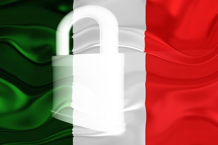 guarded: Flag of Italy, national country symbol illustration wavy security lock protection