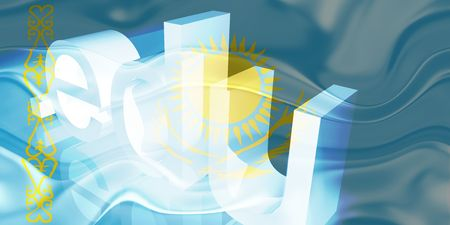 edu: Flag of Kazakhstan, national country symbol illustration wavy edu education website