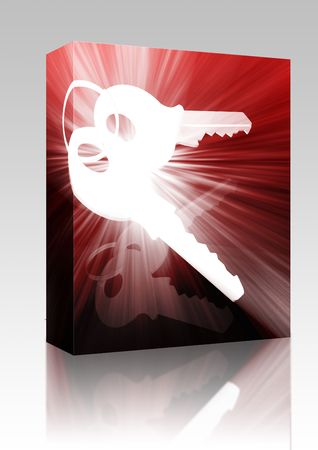 keyring: Software package box Keys on keyring security access illustration glowing modern concept Stock Photo