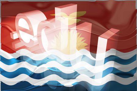 edu: Flag of Kiribati , national country symbol illustration wavy edu education website Stock Photo