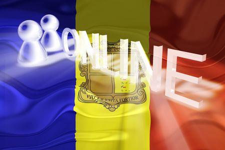 Flag of Andorra, national country symbol illustration wavy internet online website illustration