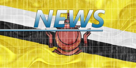 newsflash: News information splash Flag of Brunei, national symbol illustration clipart wavy