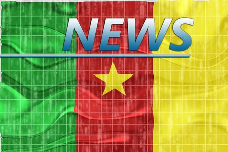 breaking wave: News information splash Flag of Cameroon, national country symbol illustration wavy