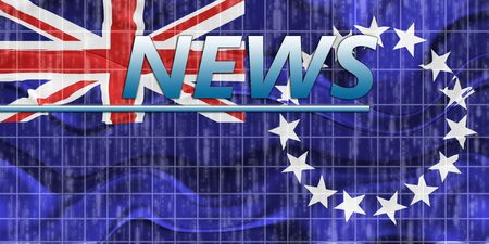 newsflash: News information splash Flag of Cook Islands, national country symbol illustration wavy Stock Photo