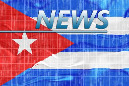 News information splash Flag of Cuba, national symbol illustration clipart wavy illustration