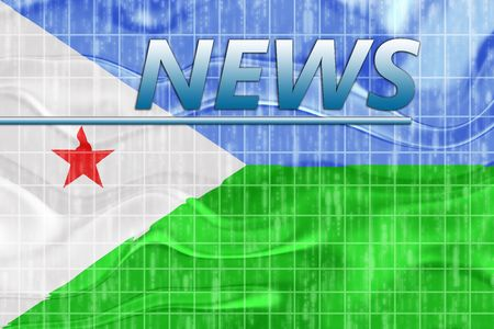 breaking wave: News information splash Flag of Djibouti , national country symbol illustration wavy Stock Photo