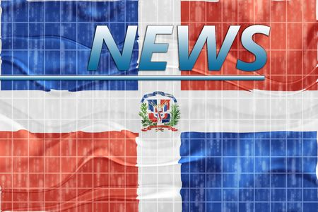 newsflash: News information splash Flag of Dominican Republic, national country symbol illustration wavy Stock Photo