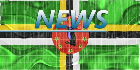 newsflash: News information splash Flag of Dominica, national country symbol illustration wavy