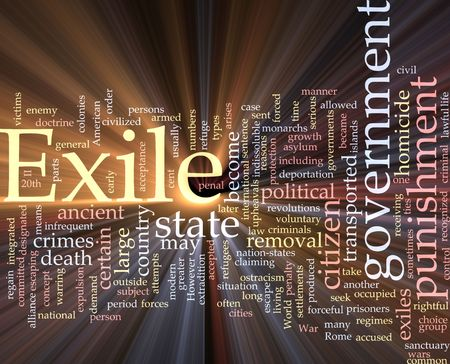 expulsion: Word cloud concept illustration of exile punishment glowing light effect