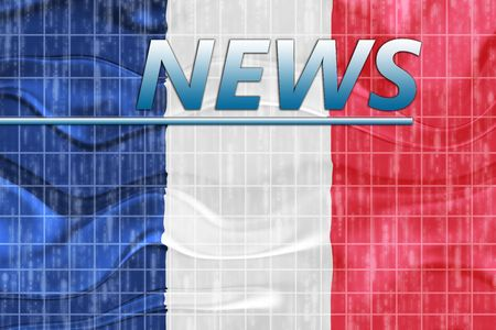 newsflash: News information splash Flag of France, national country symbol illustration wavy