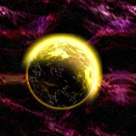Science fiction cosmic planet complex space scene illustration Stock Illustration - 6708979