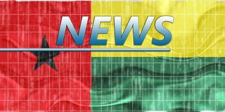 bissau: News information splash Flag of Guinea Bissau, national country symbol illustration wavy Stock Photo