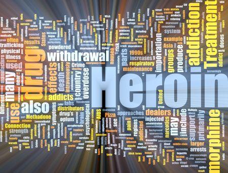 Word cloud concept illustration of heroin drug glowing light effect  illustration