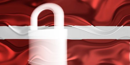 guarded: Flag of Latvia, national country symbol illustration wavy security lock protection