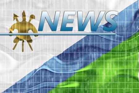 lesotho: News information splash Flag of Lesotho, national country symbol illustration wavy
