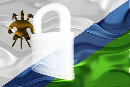 defended: Flag of Lesotho, national country symbol illustration wavy security lock protection