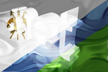 lesotho: Flag of Lesotho, national country symbol illustration wavy net domain website Stock Photo