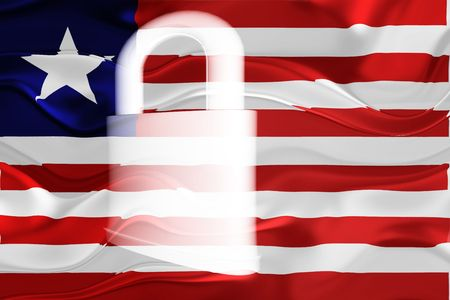 guarded: Flag of Liberia, national country symbol illustration wavy security lock protection Stock Photo