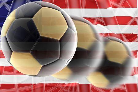Flag of Liberia, national country symbol illustration wavy sports soccer football illustration