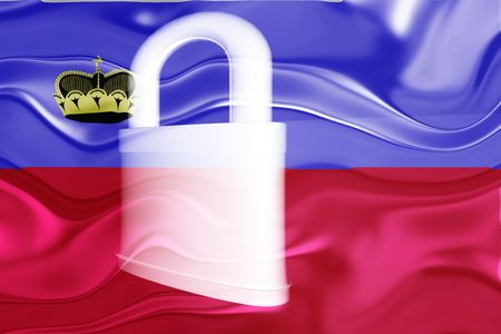 defended: Flag of Lichenstein, national country symbol illustration wavy security lock protection