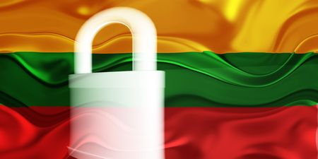 guarded: Flag of Lithuania, national country symbol illustration wavy security lock protection Stock Photo