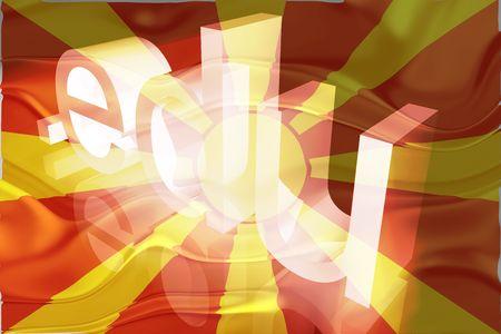edu: Flag of Macedonia, national country symbol illustration wavy edu education website Stock Photo