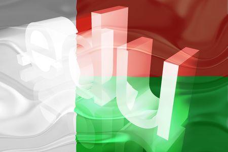 edu: Flag of Madagascar, national country symbol illustration wavy edu education website