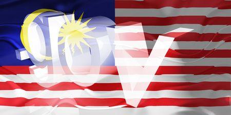 gov: Flag of Malaysia, national country symbol illustration wavy gov government website