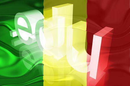 edu: Flag of Mali, national country symbol illustration wavy edu education website Stock Photo