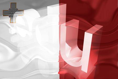 edu: Flag of Malta, national country symbol illustration wavy edu education website