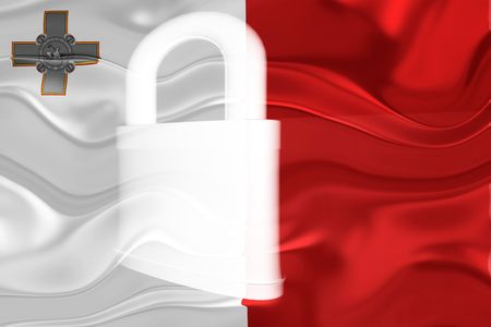 guarded: Flag of Malta, national country symbol illustration wavy security lock protection Stock Photo