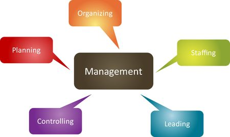 functions: Management function business strategy management roles concept diagram illustration