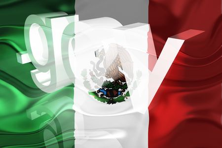 gov: Flag of Mexico, national country symbol illustration wavy gov government website