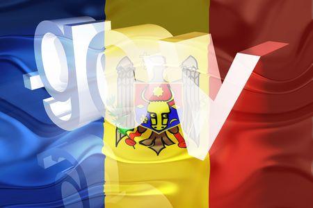 gov: Flag of Moldova, national country symbol illustration wavy gov government website