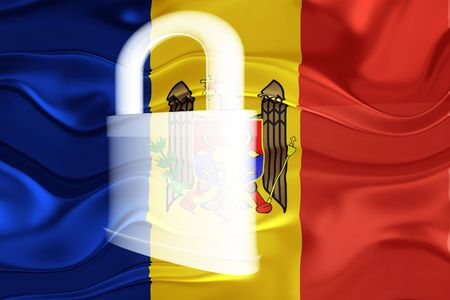 Flag of Moldova, national country symbol illustration wavy security lock protection illustration