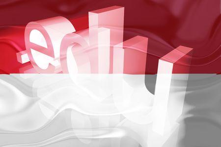 edu: Flag of Monaco, national country symbol illustration wavy edu education website Stock Photo
