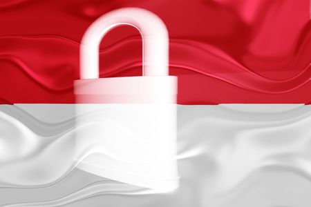 defended: Flag of Monaco, national country symbol illustration wavy security lock protection