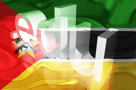 edu: Flag of Mozambique, national country symbol illustration wavy edu education website