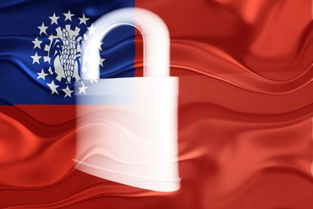 defended: Flag of Myanmar, national country symbol illustration wavy security lock protection Stock Photo