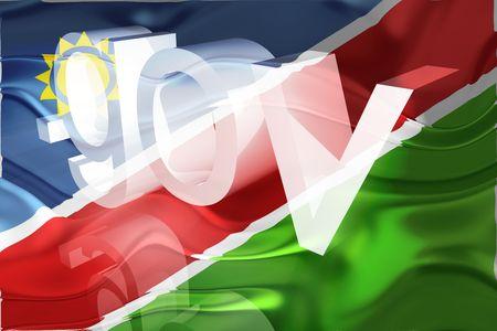 gov: Flag of Namibia, national country symbol illustration wavy gov government website