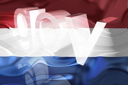 Flag of Netherlands, national country symbol illustration wavy gov government website illustration