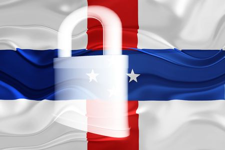 guarded: Flag ofNetherland Antilles, national country symbol illustration wavy security lock protection