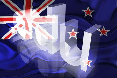 edu: Flag of New Zealand, national country symbol illustration wavy edu education website