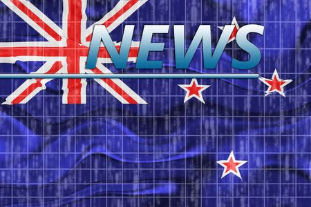 newsflash: News information splash Flag of New Zealand, national country symbol illustration wavy