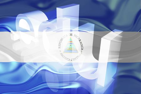 edu: Flag of Nicaragua, national country symbol illustration wavy edu education website Stock Photo